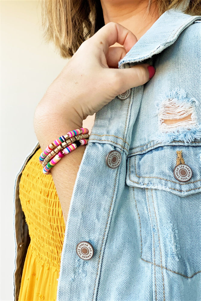 Neon and Gold Bracelet Set - Sweetly Striped