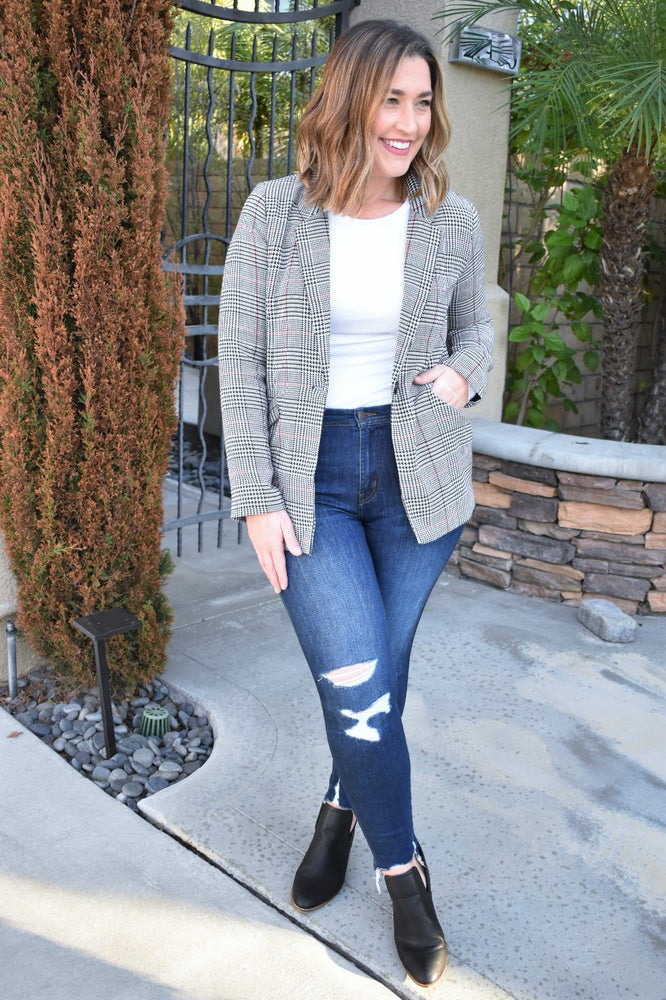 Plaid Woven Blazer - Sweetly Striped