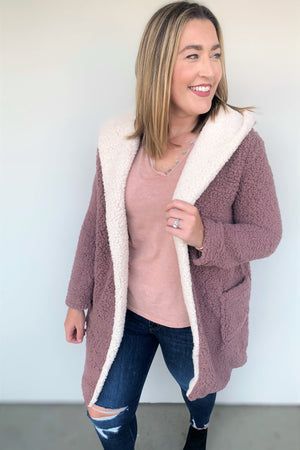 Cozy Hooded Fleece Jacket - Mauve