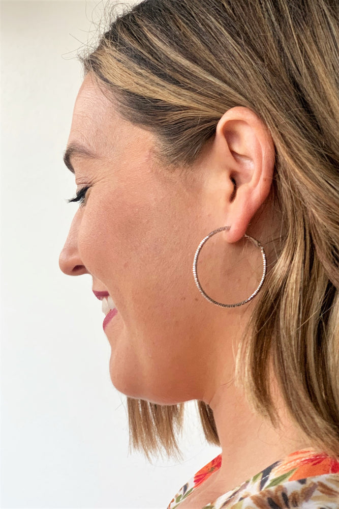 Dipped Detail Hoop Earrings - Silver - Sweetly Striped