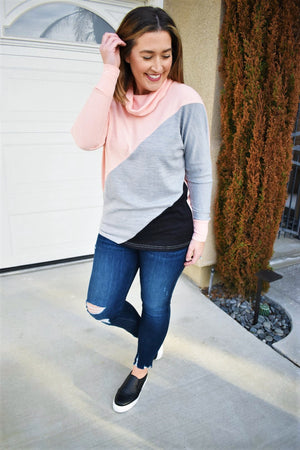 Color Block Cowl Neck Top - Sweetly Striped