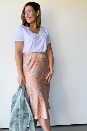 Marble-Dyed Satin Midi Skirt - Sweetly Striped