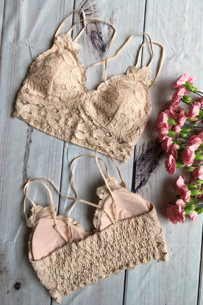 Double Strap Lace Bralette - Blush - Sweetly Striped