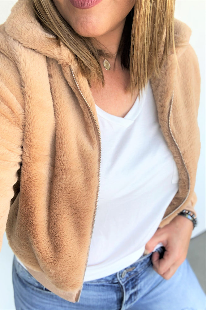 Taupe Faux Fur Jacket