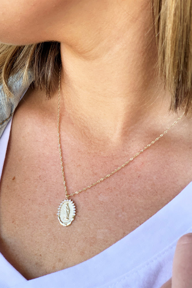 Gold Mother Mary Necklace - Sweetly Striped