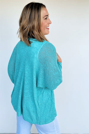 Go To Knit Cardigan - Turquoise - Sweetly Striped