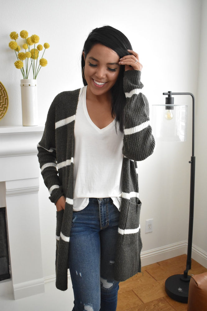 Striped Olive Open Front Cardigan