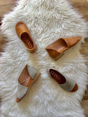 Adele Cutout Flats - Cognac - Sweetly Striped