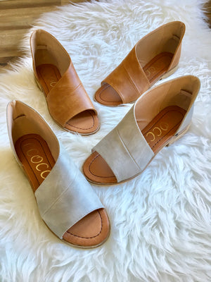 Adele Cutout Flats - Grey - Sweetly Striped