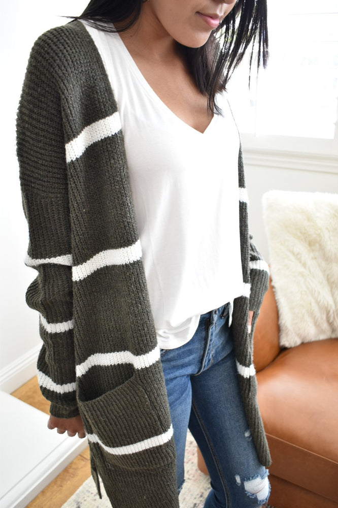 Striped Olive Open Front Cardigan - Sweetly Striped