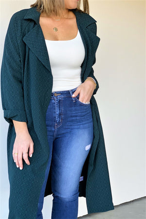 Modern Emerald Trench Coat - Sweetly Striped