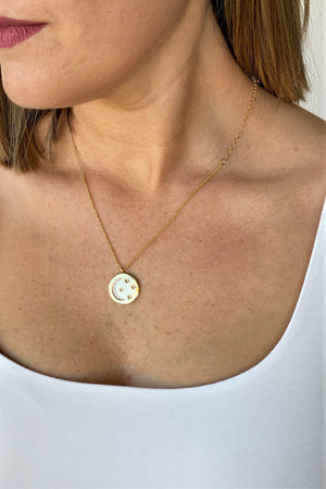 Gold Disc Moon Necklace - Sweetly Striped