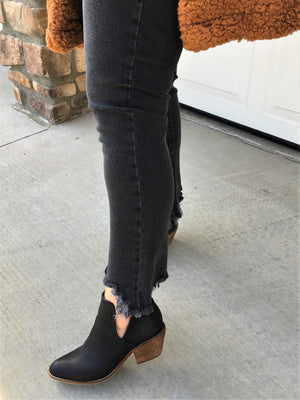 Faded Black Distressed Denim - Sweetly Striped