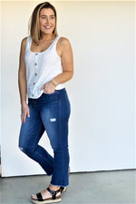 White Button Tank - Sweetly Striped