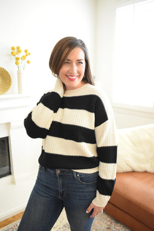 Striped Chunky Knit Sweater - Sweetly Striped