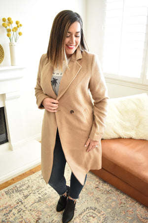 Closet Staple Button Front Coat - Sweetly Striped