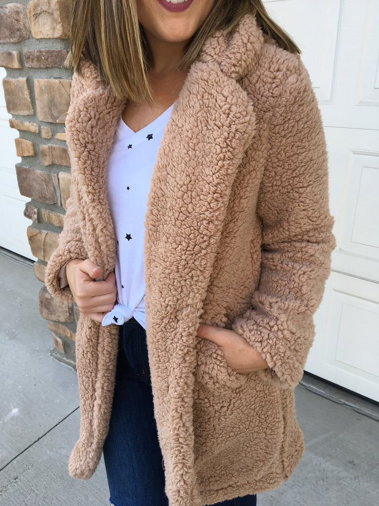 Teddy Coat - Camel - Sweetly Striped