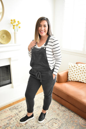 Effortless French Terry Overalls - Sweetly Striped