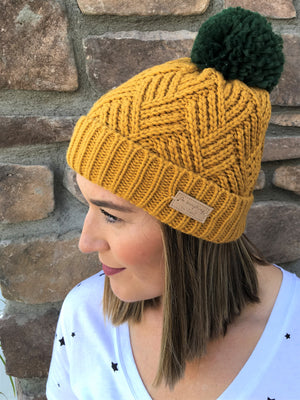 Jewel Tone Pom Pom Beanie - Sweetly Striped
