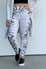 Light Grey And Black Snake Print Leggings
