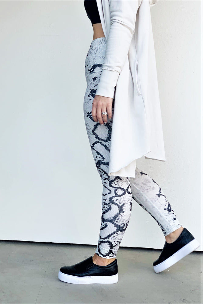 Light Grey And Black Snake Print Leggings - Sweetly Striped