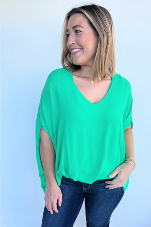 Turn Heads Blouse - Emerald - Sweetly Striped
