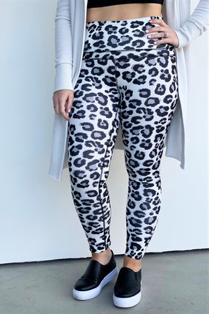 Snow Leopard Print Leggings - Sweetly Striped