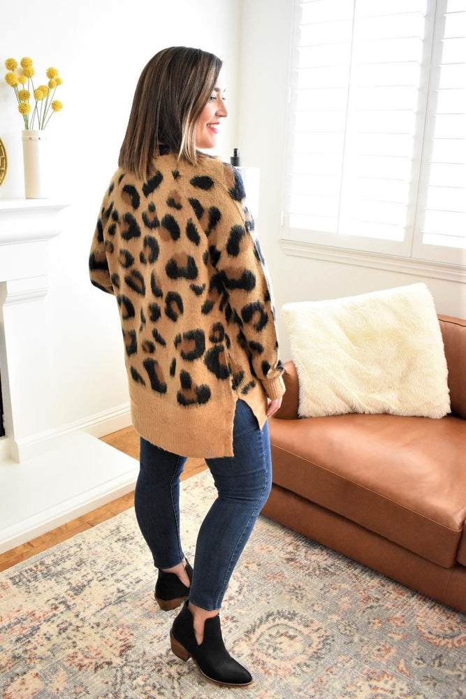 Brushed Leopard Cardigan - Sweetly Striped
