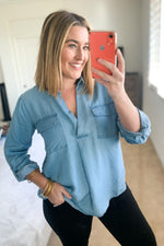Chambray V Neck Top