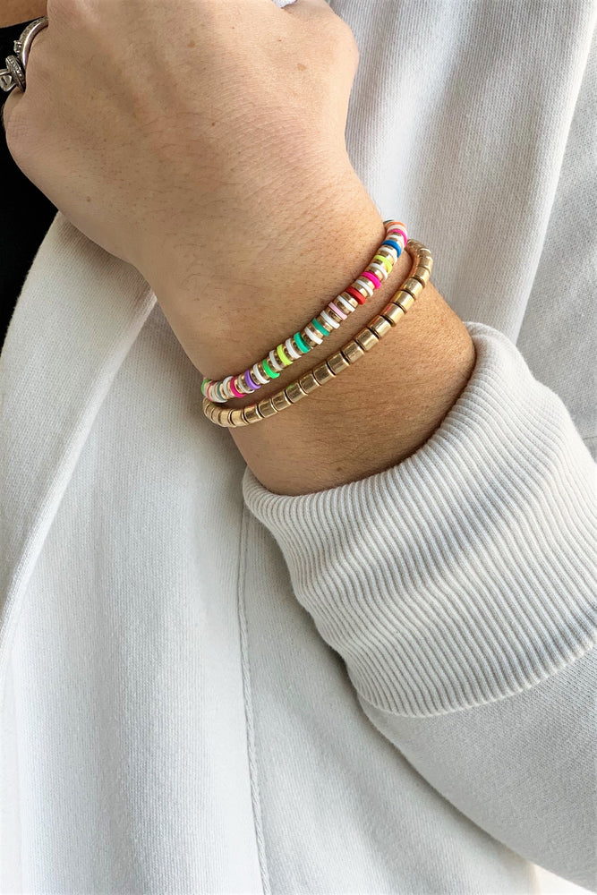 Gold And Colorful Beaded Bracelet Set - Sweetly Striped