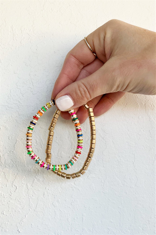 Gold And Colorful Beaded Bracelet Set