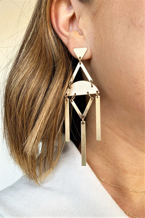 Gold Modern Statement Earrings - Sweetly Striped