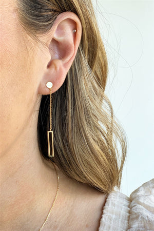 Dainty Gold Bar Earrings - Sweetly Striped