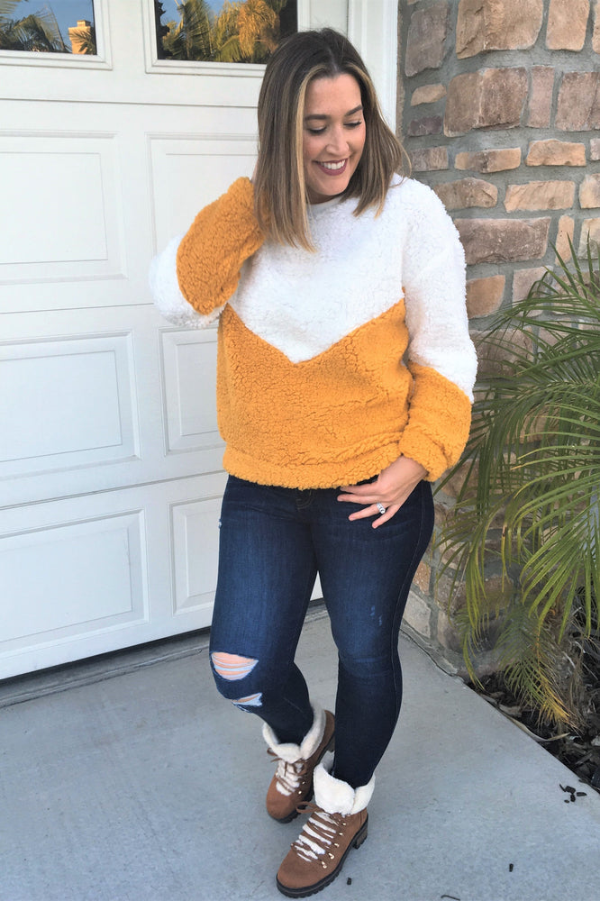 Sherpa Color Block Top