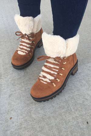Fur Lace Up Boots - Sweetly Striped