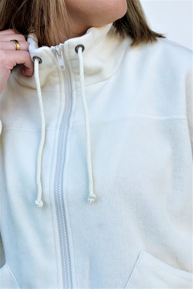 Pocket Zip Up Fleece Jacket - Sweetly Striped