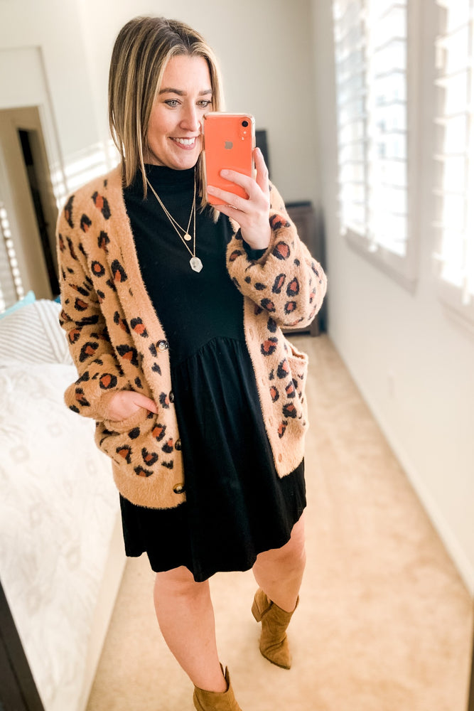 Camel Animal Print Cardigan