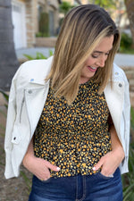 Black Floral Smocked Blouse
