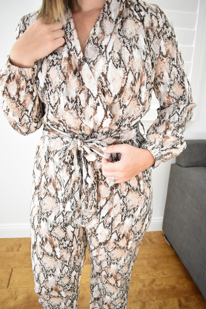 Snake Print Jumpsuit - Sweetly Striped
