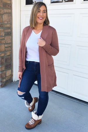 My Girl Tunic Cardigan - Brown - Sweetly Striped