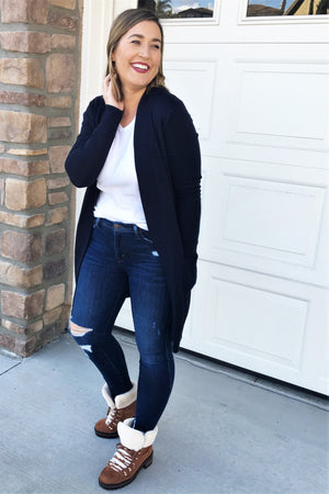 My Girl Tunic Cardigan - Navy - Sweetly Striped