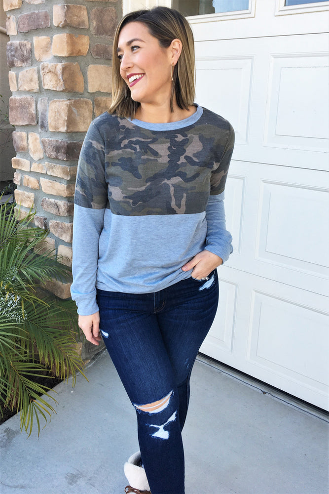 Camo Color Block Pullover