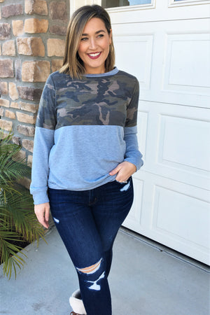 Camo Color Block Pullover - Sweetly Striped