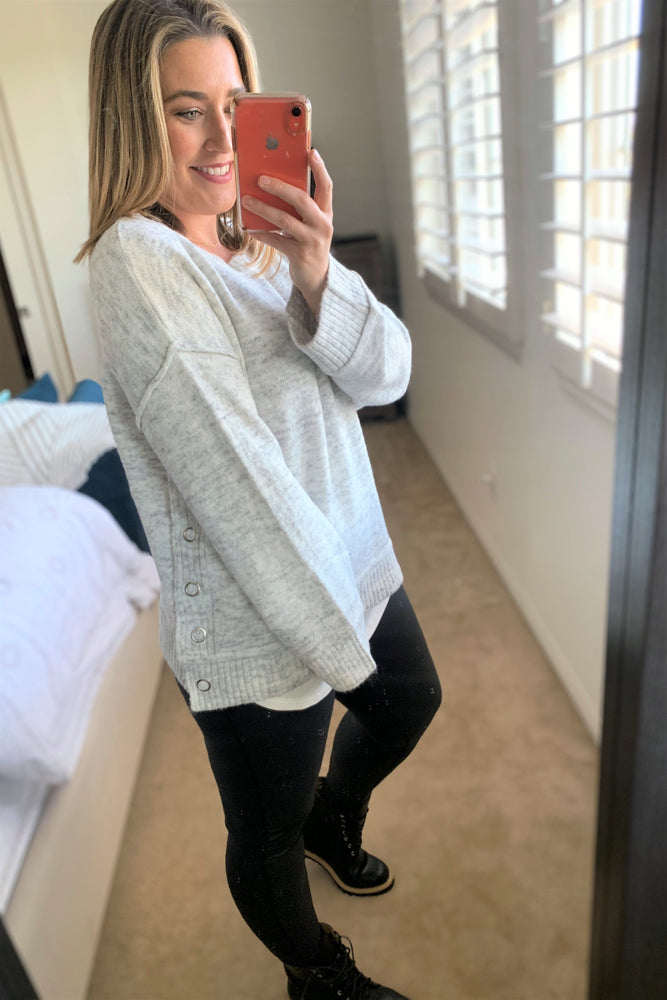 Heather Grey Side Button Sweater