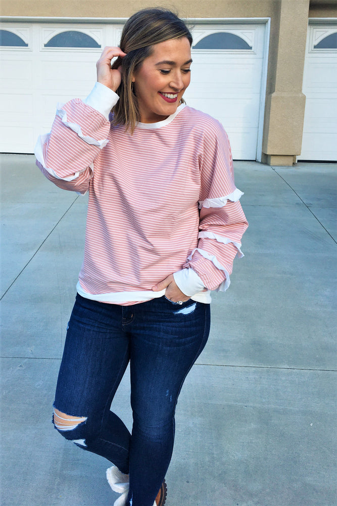 Blush Ruffle Sleeve Top - Sweetly Striped