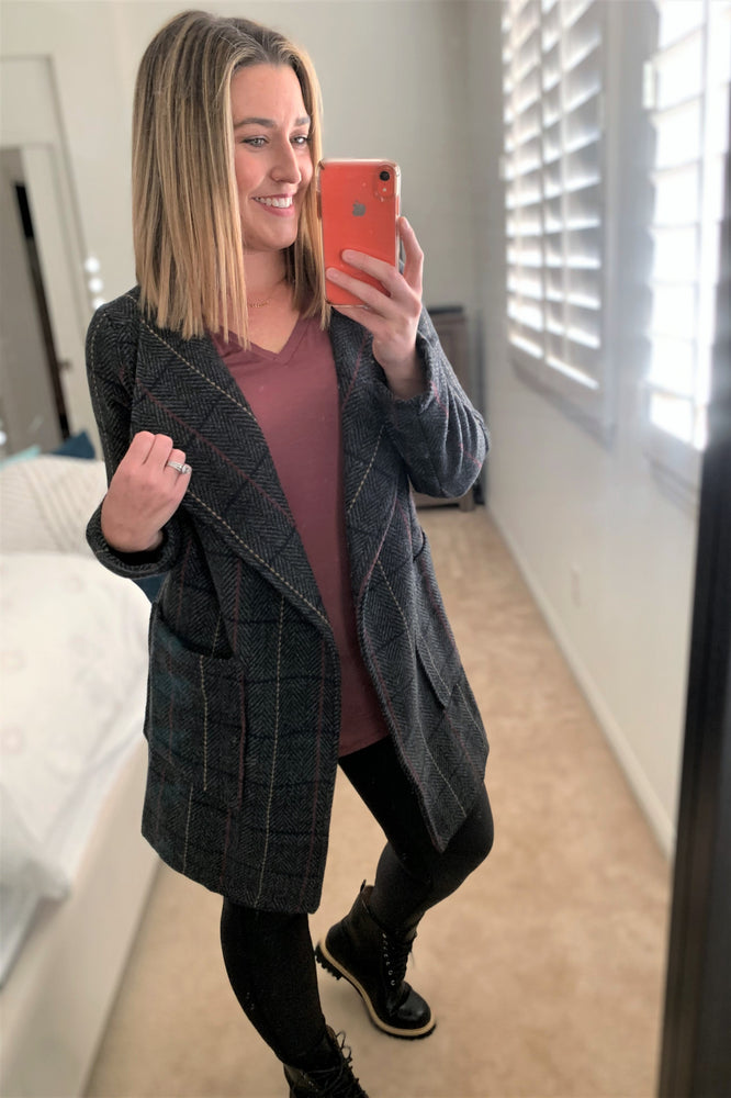 Charcoal Plaid Open Front Jacket