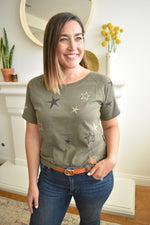 Olive Embroidered Star Top