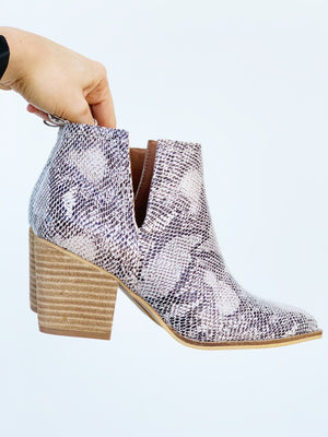 Snake Print Cutout Booties - Sweetly Striped