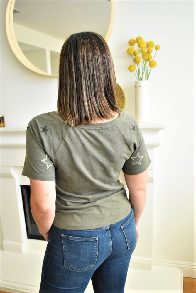 Olive Embroidered Star Top - Sweetly Striped