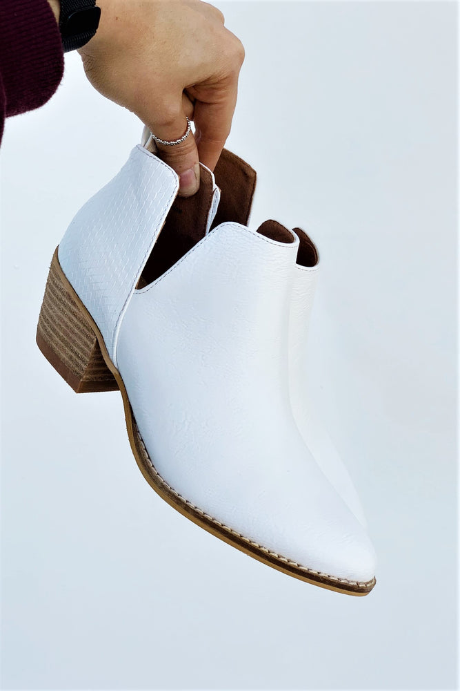White Side Slit Bootie